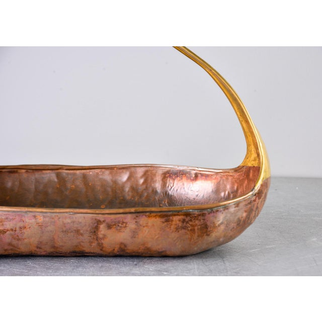 1960s Mid Century Hammered Copper and Brass Basket Form Bowl For Sale - Image 5 of 8