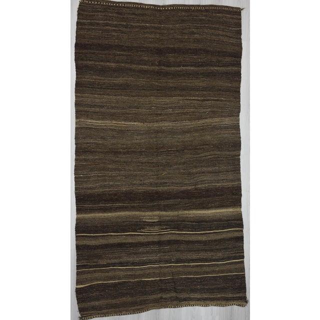 """Vintage Brown Goat Hair Kilim Rug - 5'9"""" x 10'7"""" For Sale In Los Angeles - Image 6 of 6"""