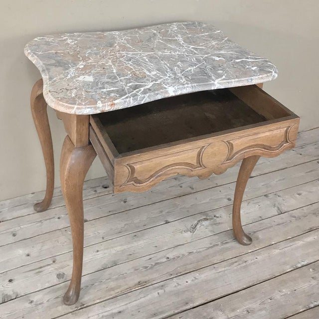 Late 19th Century 19th Century French Louis Philippe Walnut Marble Top Writing Table For Sale - Image 5 of 12