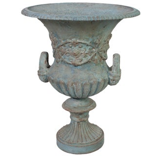 Large Blue Painted Medici Urn For Sale