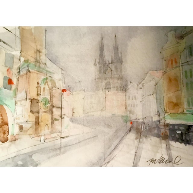 """European Streets"" Watercolor Painting For Sale"