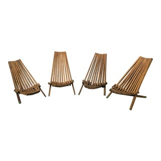 Mid-Century Teak Patio Chairs - Set of 4 For Sale