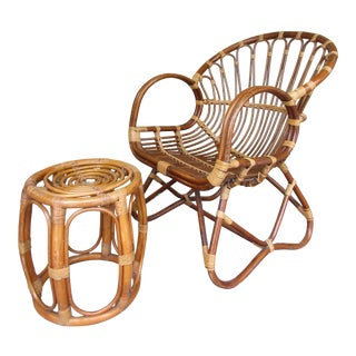 Late 20th Century Franco Albini Style Chair and Footstool-a Pair For Sale
