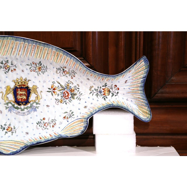 Mid 20th Century Early 20th Century French Hand-Painted Faience Fish Platter From Normandy For Sale - Image 5 of 10