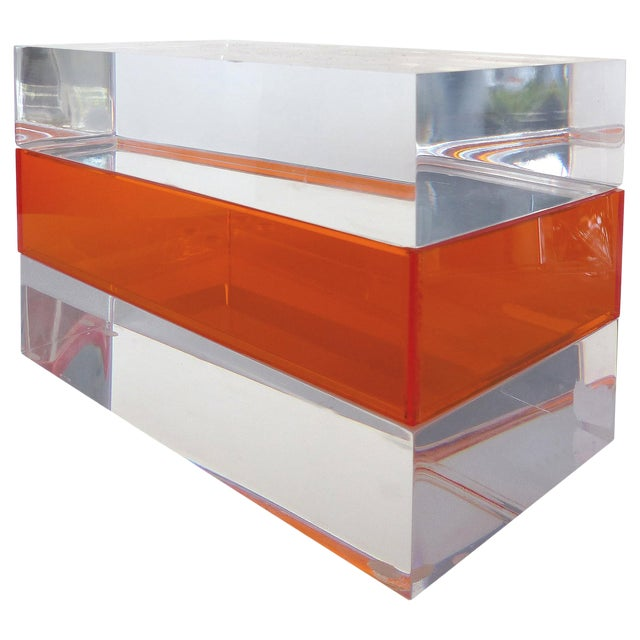 Custom Clear and Orange Lucite Trinket or Jewelry Box For Sale