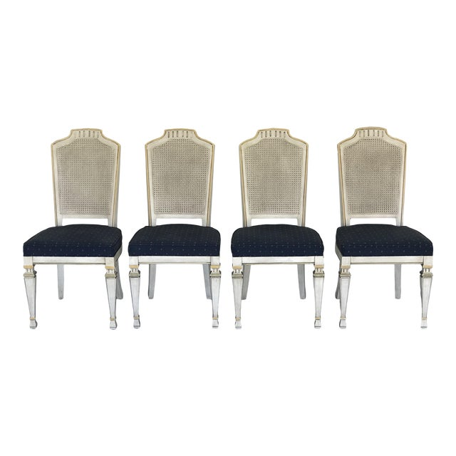 1970s Vintage Drexel Siena Furniture Italian Neoclassical Cane Back Dining Chairs- Set of 4 For Sale