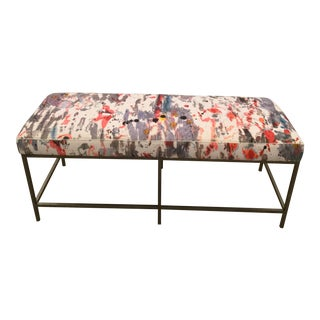 Custom Upholstered Bench in Holly Hunt Modern Fabric With Metal Frame