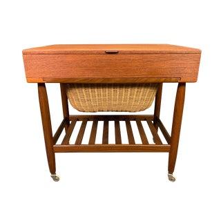 Vintage Danish Modern Teak Sewing Cart by Ejvind Johansson For Sale