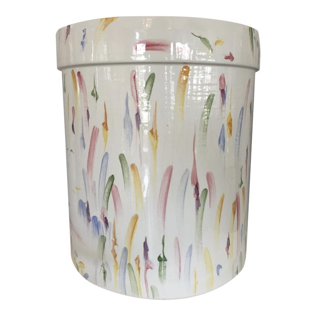 Italian Hand Painted Ceramic Stool - Image 1 of 7
