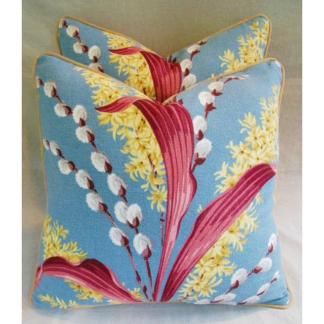 Vintage Tropical Floral Barkcloth Pillows - a Pair - Image 7 of 11