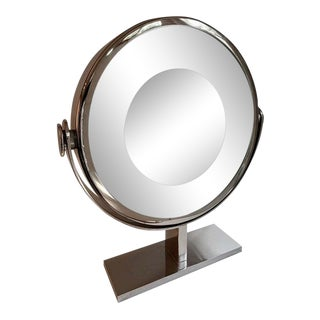 Karl Springer Chrome Vanity or Table Mirror For Sale
