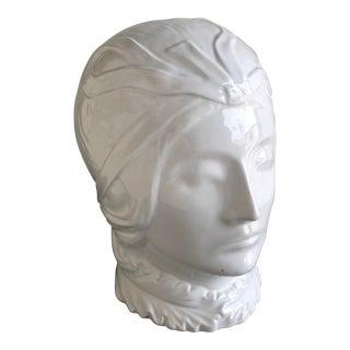1960s Art Deco Style Italian White Ceramic Head