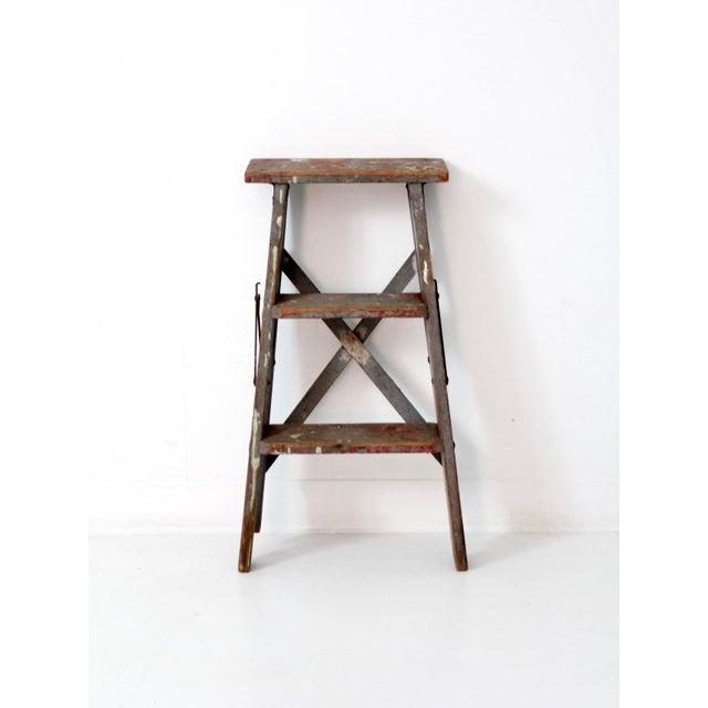Vintage Wooden Step Ladder For Sale - Image 4 of 12