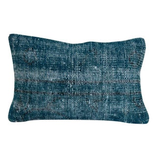 Turquise Hand-Knotted Rug Lumber Pillow For Sale