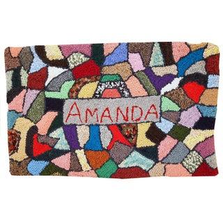 Handmade Vintage Amanda American Hooked Rug - 1′11″ × 3′ For Sale