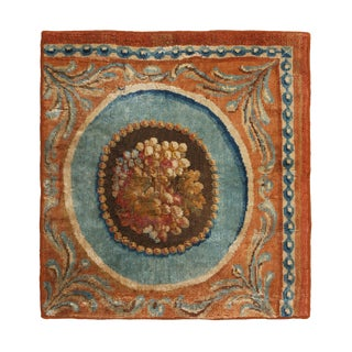 Antique Savonnerie Peach and Blue Wool Rug Fragment For Sale