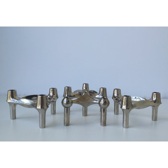 Mid-Cenutry Fritz Nagel & Ceasar Stoffi Chrome-Plated Modular Candleholders - S/4 For Sale - Image 11 of 11