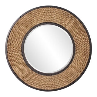 Newport Rope Framed Round Coastal Wall Mirror For Sale