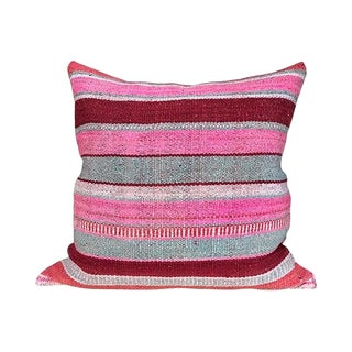 Kim Salmela Boho Chic Striped Peruvian Kilim Square Pillow For Sale