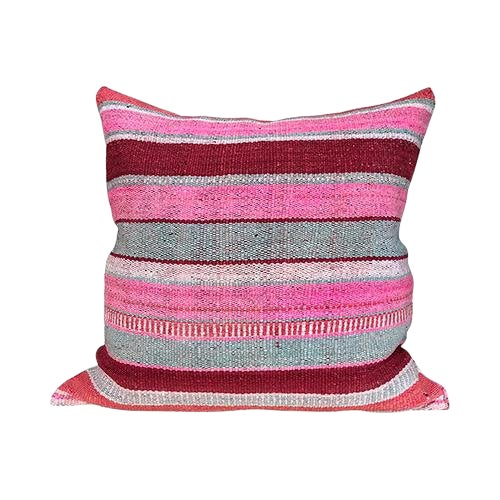 Kim Salmela Boho Chic Striped Peruvian Kilim Square Pillow For Sale