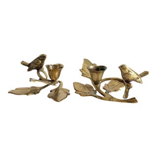 1970s Hollywood Regency Brass Bird and Leaves Candle Holders - a Pair