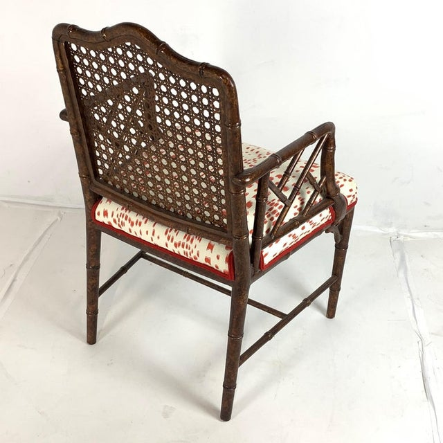 Set of 6 Upholstered Faux Bois Bamboo Chinese Chippendale Cane Dining Chairs For Sale - Image 9 of 13