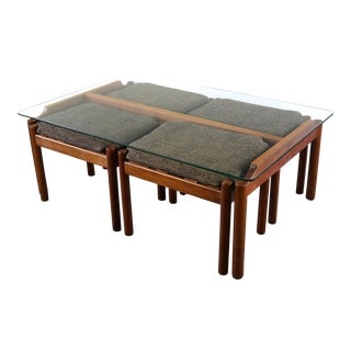 Glass Coffee Table and 4 Nesting Stools in Teak Attributed to Jorgen Baekmark - 6 Pieces For Sale