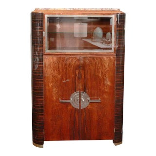 Art Deco Machine Age Streamlined Mahogany and Macassar Cabinet with Nickel Pulls For Sale