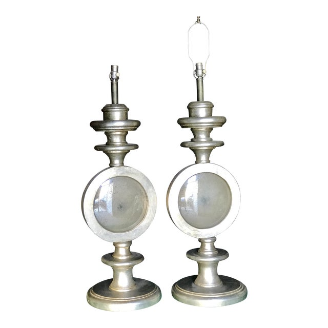 Oversize Italian Silver Leaf Table Lamps - A Pair - Image 1 of 7