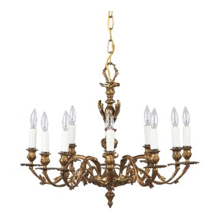 Late 19th Century Antique Louis XV Style Rococo 10-Light Bronze Chandelier For Sale