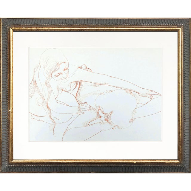 Orange Vintage Bohemian Sanguine Drawing of Nude Couple For Sale - Image 8 of 8