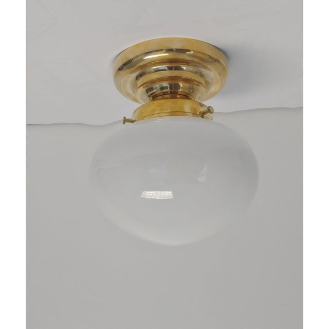 2010s Urban Archaeology Yacht Light in Unlacquered Polished Brass and Opal White Glass For Sale - Image 5 of 5