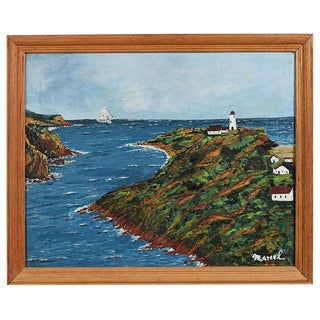 American Folk Art Cape Cod Painting of Lighthouse For Sale