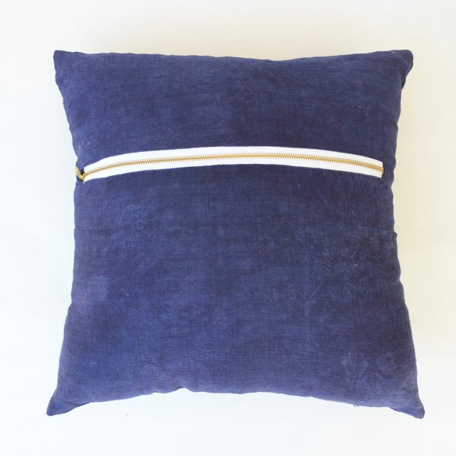 Hand Woven Purple-Indigo Hemp Pillow - Image 3 of 3