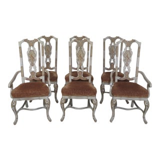 Drexel Heritage Chinoiserie Decorated Dining Room Chairs - Set of 6 For Sale
