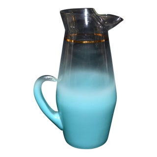 West Virginia Glass Blendo Turquoise Pitcher