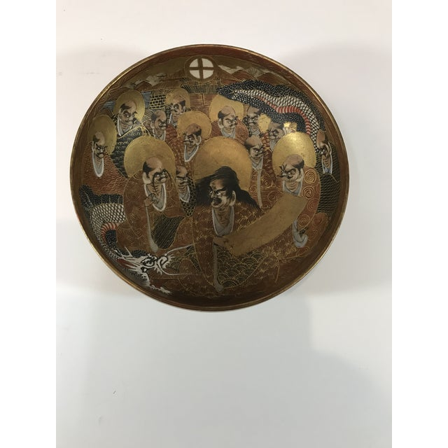 1940s 1940s Antique Japanese Satsuma Hand Painted 2 Sided Golden Porcelain Bowl For Sale - Image 5 of 13