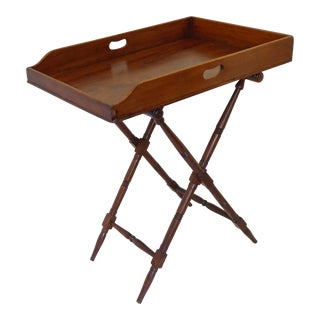 19th Century English Mahogany Butlers Tray on Stand For Sale