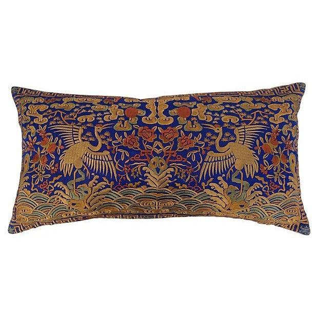 Embroidered Silk Crane Boudoir Pillows - A Pair - Image 4 of 5