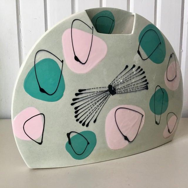 Ceramic Mid-Century Atomic Pastel Pillow Vase For Sale - Image 7 of 7