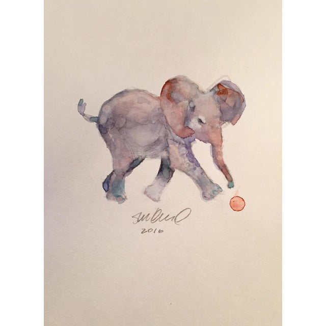 Contemporary Baby Elephant Watercolor - Image 1 of 2