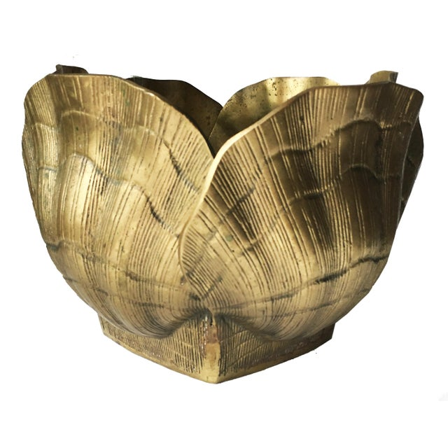 Vintage Large Shell Brass Planter or Cachepot - Image 4 of 7