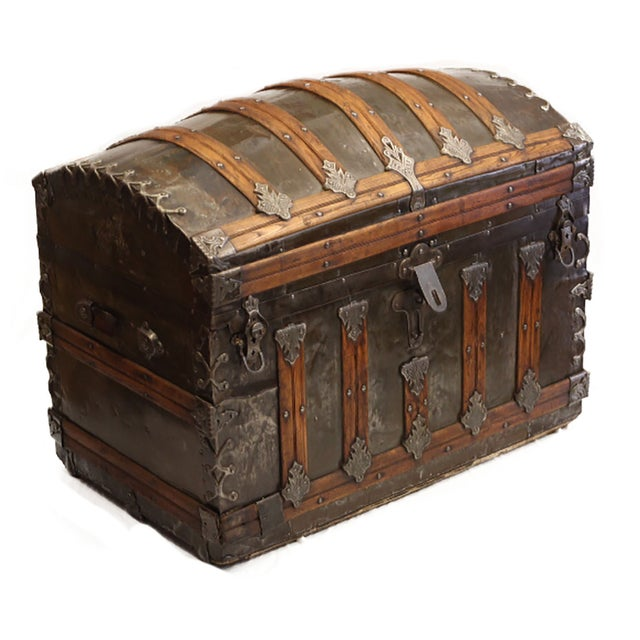 Late 19th-C. Tin Embossed Steamer Trunk - Image 4 of 10