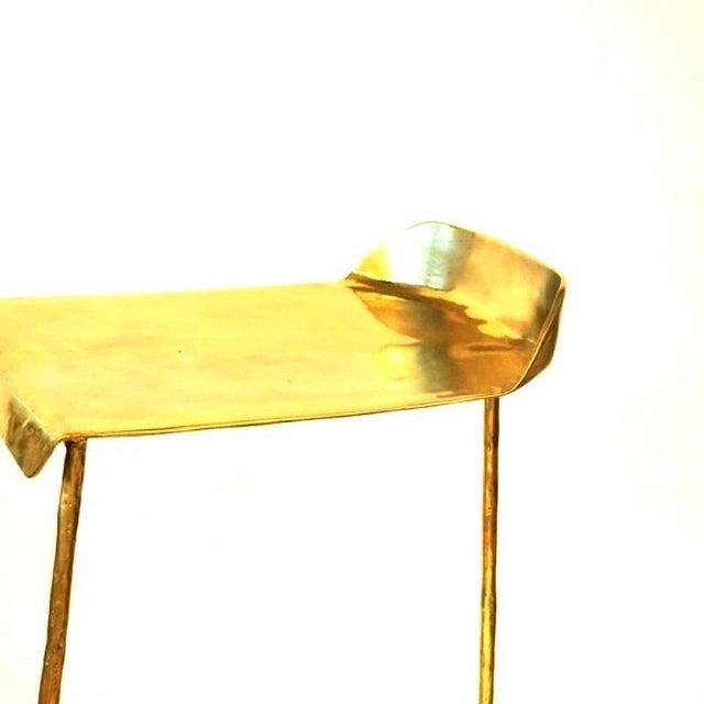 Modern Hand-Sculpted Brass Stool, Misaya For Sale - Image 3 of 5