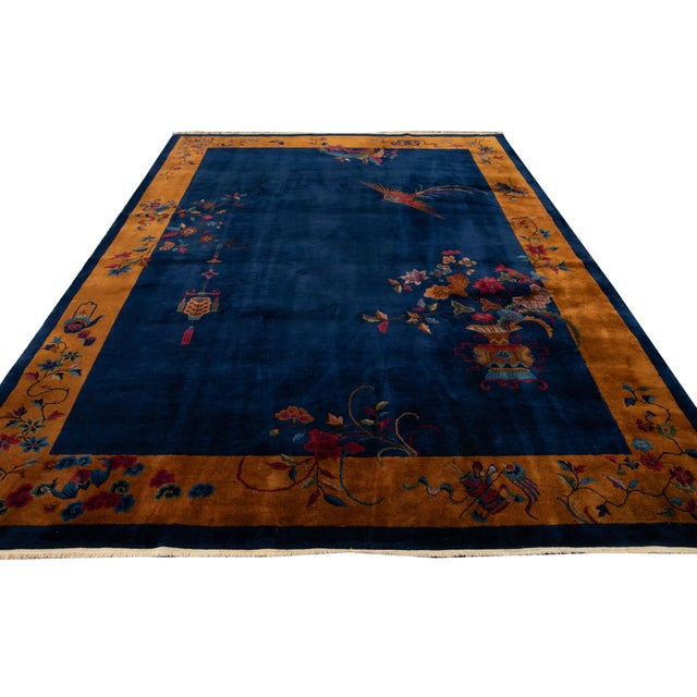 Early 20th Century Antique Art Deco Chinese Wool Rug For Sale - Image 12 of 13