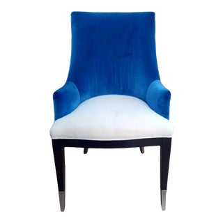 """Caracole """"You'Re Invited"""" Blue and White Upholstered Side Chair For Sale"""