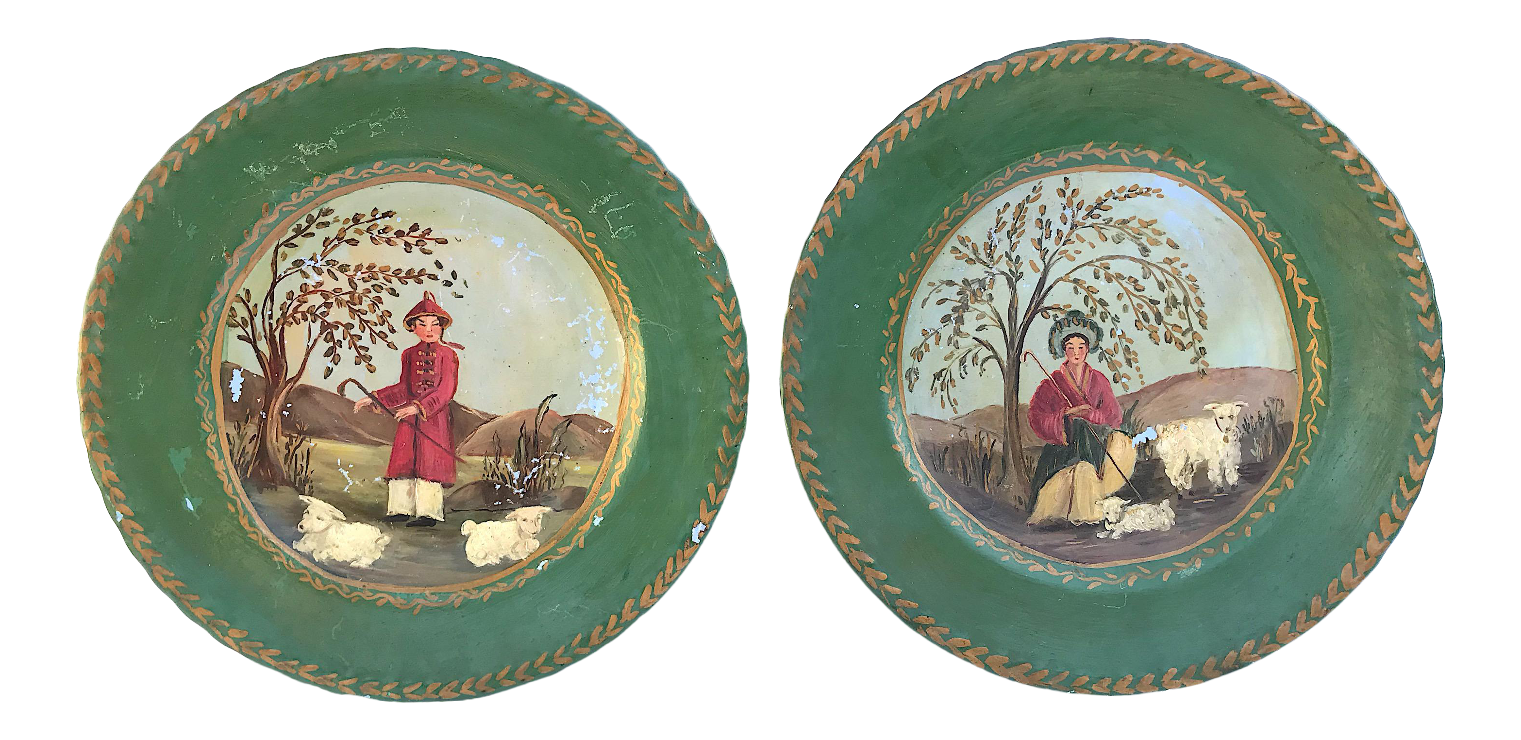 Decorative Hand Painted Asian Plates - A Pair  sc 1 st  Chairish & Vintage \u0026 Used Red Decorative Plates | Chairish