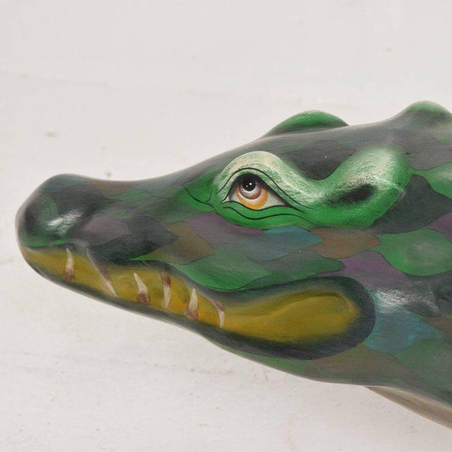 Whimsical Sergio Bustamante Papier Mâché Crocodile Sculpture, Mexico, 1970s For Sale - Image 10 of 12