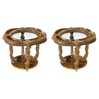 Hollywood Regency Capiz Shell Gilt Metal Italian Florentine Style End Tables For Sale