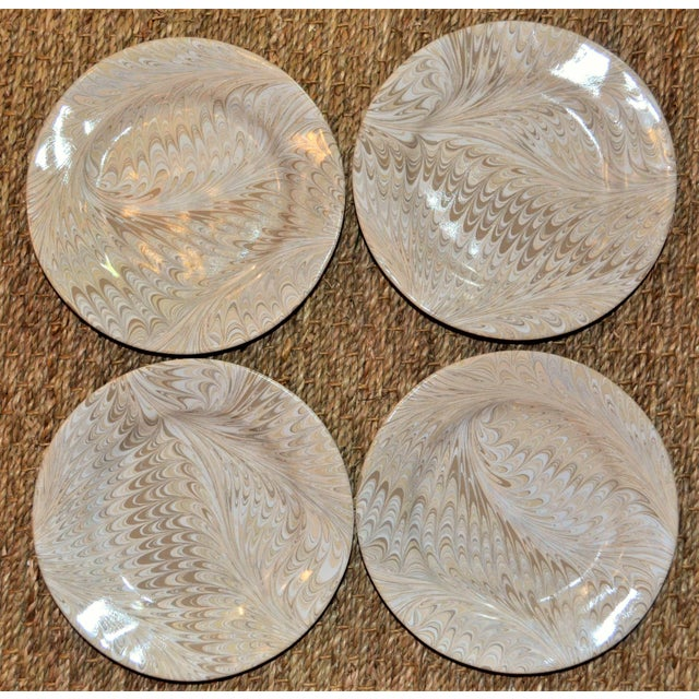 Brown Firenze Marbleized Ceramic Cocktail Plates - Set of 4 For Sale In Houston - Image 6 of 6